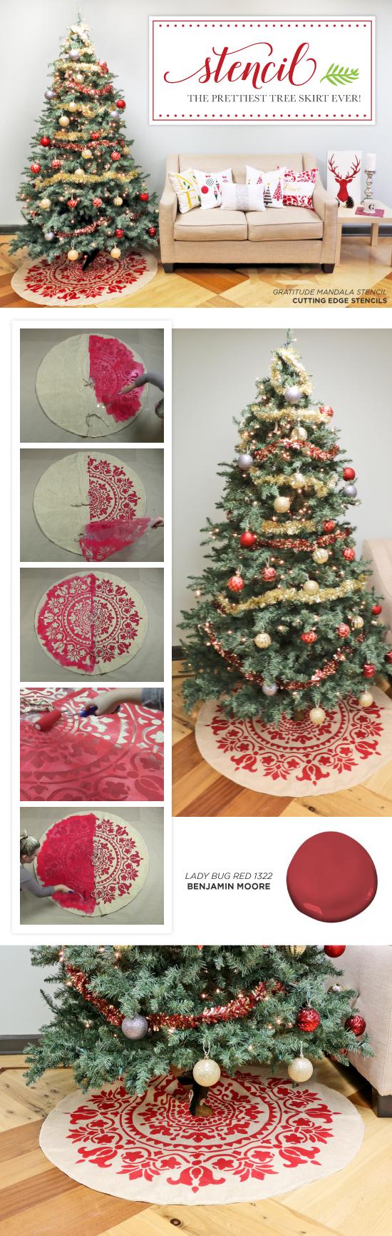 Cutting Edge Stencils shares how to stencil the prettiest DIY Christmas Tree Skirt using the Gratitude Mandala Stencil. http://www.cuttingedgestencils.com/prosperity-mandala-stencil-yoga-mandala-stencils-designs.html