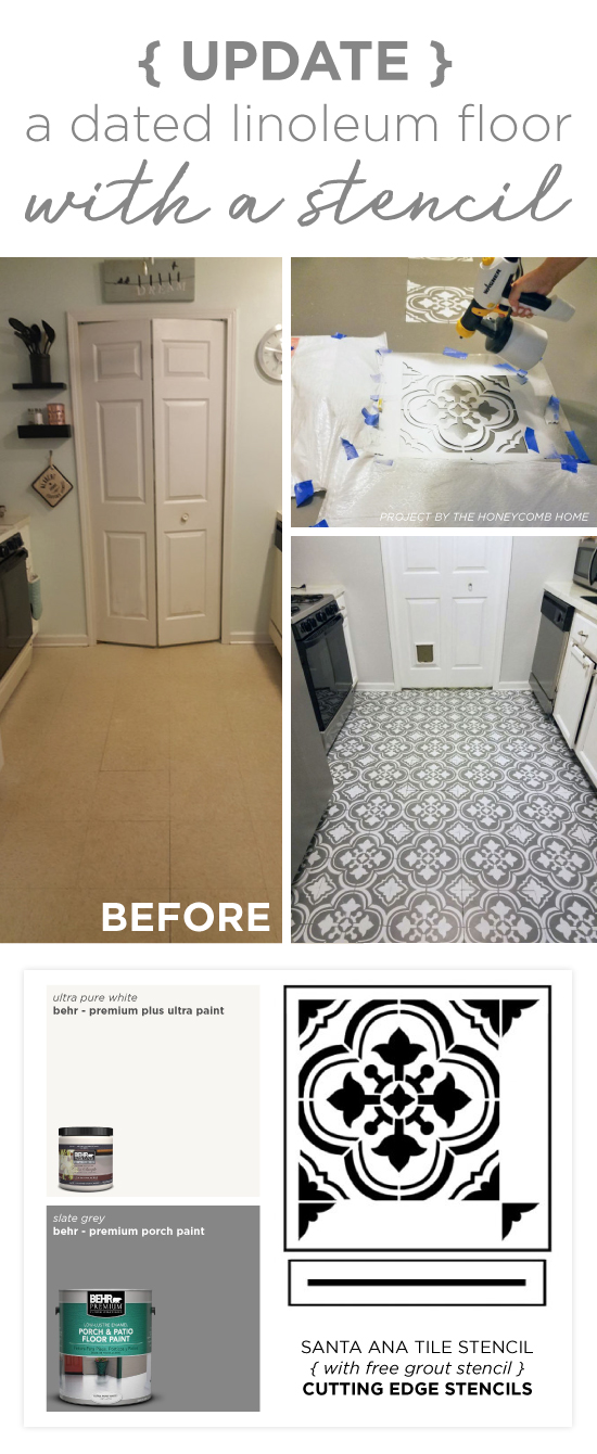 Cutting Edge Stencils shares how to stencil a dated linoleum floor using the Santa Ana Tile Stencil. http://www.cuttingedgestencils.com/santa-ana-tile-stencil-spanish-tiles-cement-tile-patterns.html