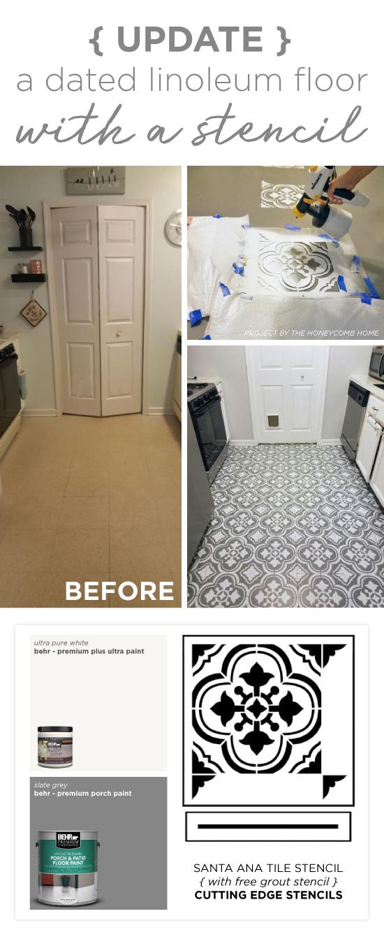 Update A Dated Linoleum Floor With A Stencil