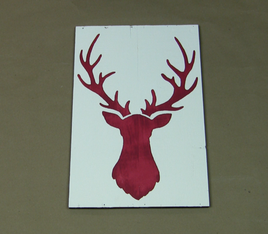 Make rustic christmas art using the deer head stencil
