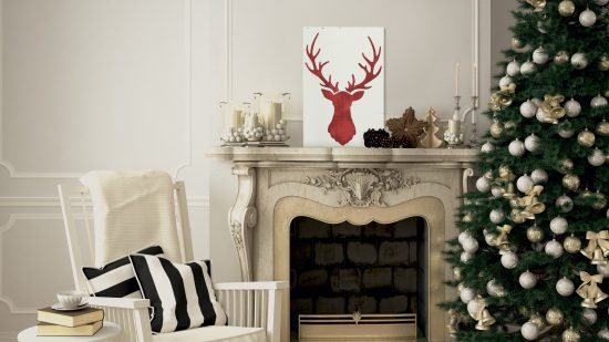 Learn how to make DIY rustic Christmas art using the Deer Head Stencil from Cutting Edge Stencils and reclaimed wood. http://www.cuttingedgestencils.com/deer-head-wall-stencil-deer-antlers-stencils-for-walls.html