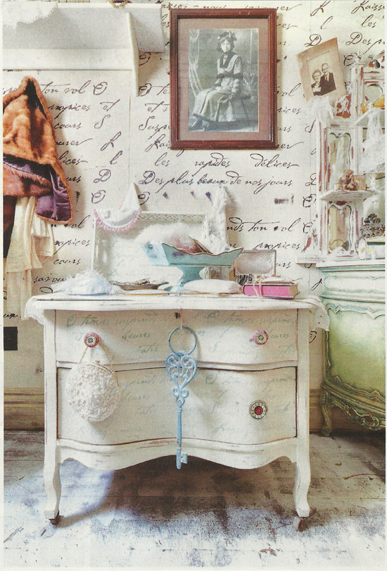 A bedroom accent wall in Flea Market Decor Magazine features the French Poem Allover Stencil from Cutting Edge Stencils. http://www.cuttingedgestencils.com/french-typography-letter-wall-stencil.html