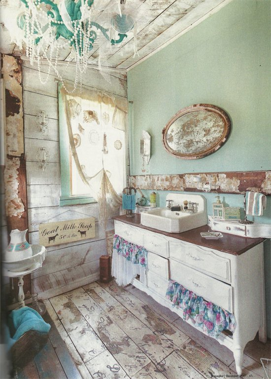 A bathroom floor in Flea Market Decor Magazine features the French Poem Allover Stencil from Cutting Edge Stencils. http://www.cuttingedgestencils.com/french-typography-letter-wall-stencil.html