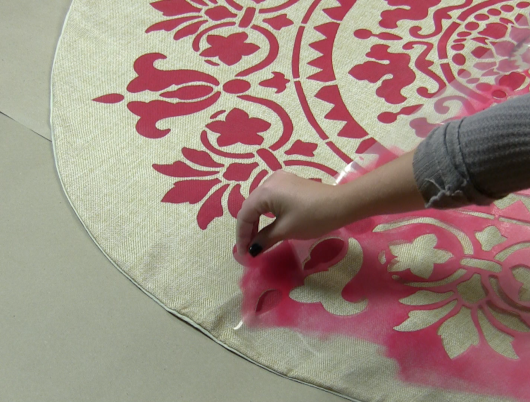 Learn how to stencil the prettiest DIY Christmas Tree Skirt using the Gratitude Mandala Stencil from Cutting Edge Stencils. http://www.cuttingedgestencils.com/gratitude-mandala-stencil-yoga-designs.html
