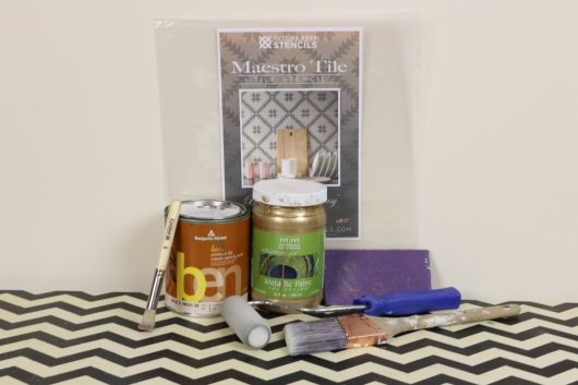 maestro-tile-stencil-diy-stenciled-green-gold-table-supplies