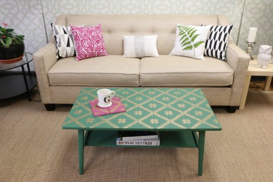 Learn how to makeover an old wooden coffee table using Benjamin Moore Paint, Modern Masters Paint, and the Maestro Tile Stencil from Cutting Edge Stencils. http://www.cuttingedgestencils.com/geometric-tile-stencil-painted-backsplash-stencils-cement-tile.html