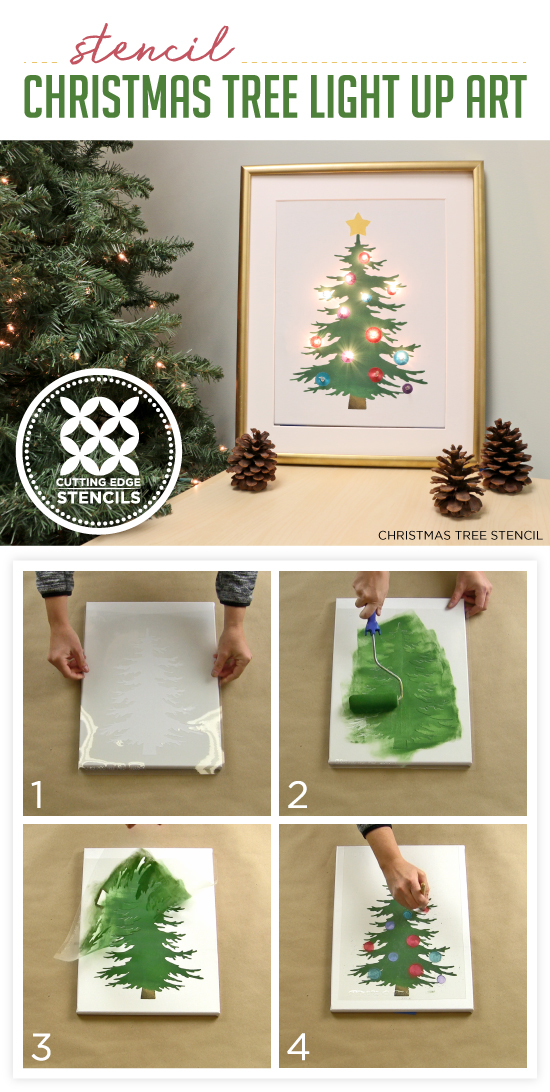 cutting edge stencils shares how to make diy light up christmas tree artwork using paint and