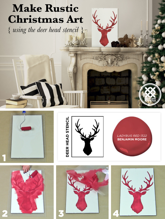 Cutting Edge Stencils shares how to make DIY rustic Christmas art using the Deer Head Stencil and reclaimed wood. http://www.cuttingedgestencils.com/deer-head-wall-stencil-deer-antlers-stencils-for-walls.html