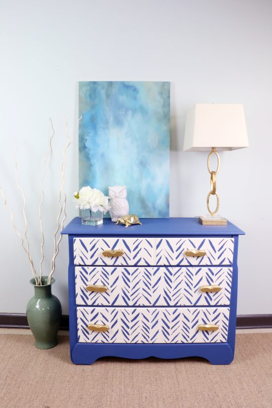 Cutting Edge Stencils shares a thrift store furniture makeover using the Brush Strokes Stencil in blue and white. http://www.cuttingedgestencils.com/brush-strokes-wall-pattern-stencil-modern-wall-stencils.html