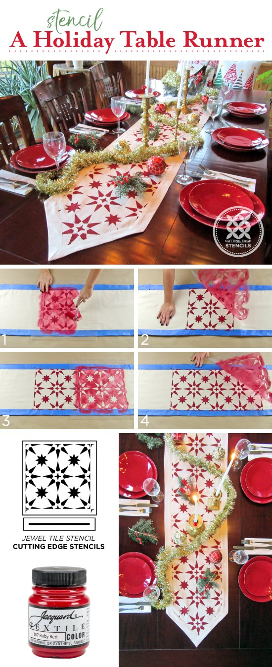 Cutting Edge stencils shares a stencil tutorial on how to paint a DIY table runner using the Jewel Tile Stencil and Jacquard Fabric Paint. http://www.cuttingedgestencils.com/jewel-tile-stencil-cement-tiles-stencils.html