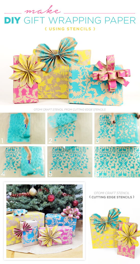 cutting edge crafts make diy gift wrapping paper using stencils 1831