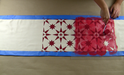 Learn how to stencil a DIY table runner using the Jewel Tile Stencil from Cutting Edge Stencils and Jacquard Fabric Paint in Ruby Red. http://www.cuttingedgestencils.com/jewel-tile-stencil-cement-tiles-stencils.html