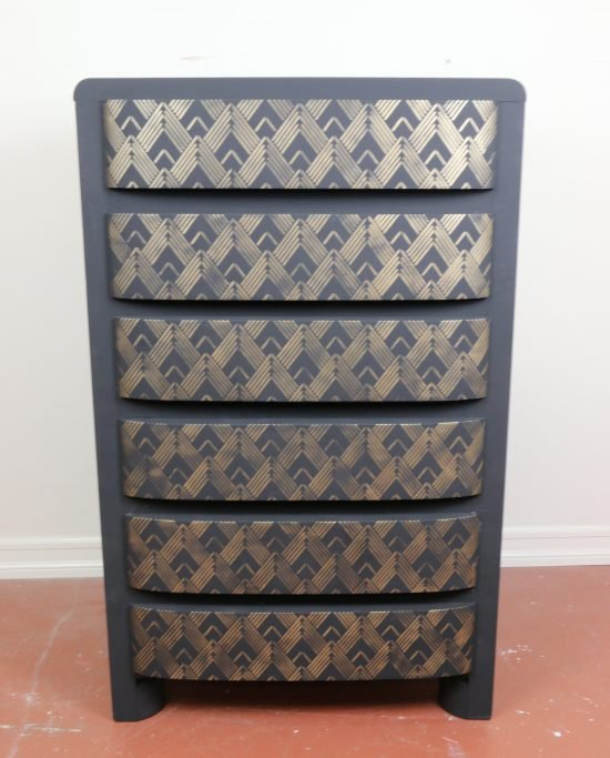 Cutting Edge Stencils shares how to makeover an old dresser using an Art Deco stencil pattern, the Lexington Craft. http://www.cuttingedgestencils.com/lexington-craft-stencil-furniture-stencils.html