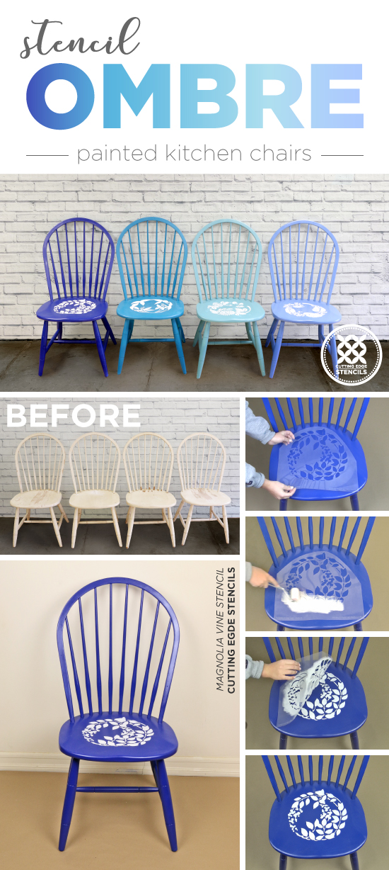Cutting Edge Stencils shares how to makeover old kitchen chairs using ombre paint colors and flower stencil patterns. http://www.cuttingedgestencils.com/japanese-flower-stencil.html