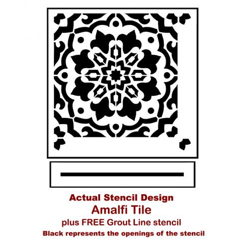 The Amalfi Tile Stencil from Cutting Edge Stencils. http://www.cuttingedgestencils.com/amalfi-tile-stencil-Cement-tiles-stenciled-floor-backsplash.html