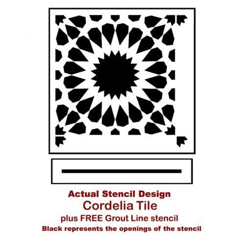 The Cordelia Tile Stencil from Cutting Edge Stencils. http://www.cuttingedgestencils.com/cordelia-tile-stencil-moroccan-design-cement-tiles.html