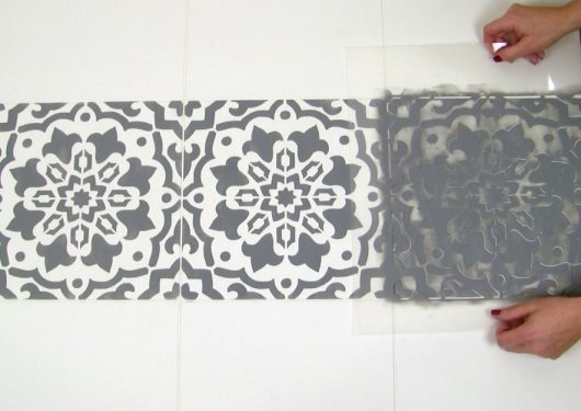 Learn how to stencil a faux tile floor using the Amalfi Tile Stencil from Cutting Edge Stencils. http://www.cuttingedgestencils.com/amalfi-tile-stencil-Cement-tiles-stenciled-floor-backsplash.html