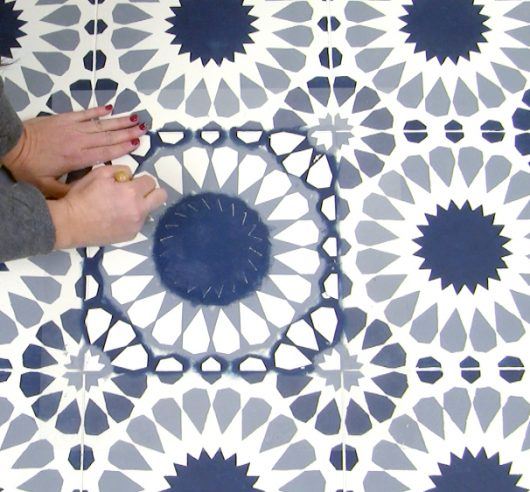 Learn how to stencil a tile floor using the Cordelia Tile Stencil from Cutting Edge Stencils. http://www.cuttingedgestencils.com/cordelia-tile-stencil-moroccan-design-cement-tiles.html