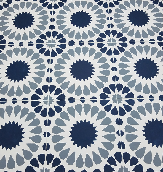 Cutting Edge Stencils shares how to stencil a tile floor using the Cordelia Tile Stencil in Benjamin Moore New York State of Mind Blue and Puritan Gray. http://www.cuttingedgestencils.com/cordelia-tile-stencil-moroccan-design-cement-tiles.html