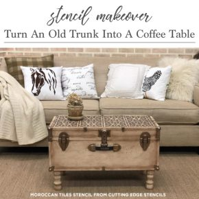 Cutting Edge Stencils shares how to makeover over a vintage trunk into a coffee table using the Moroccan Magic Tile Stencil. http://www.cuttingedgestencils.com/moroccan-tile-stencil-cement-tiles-floor-tile-designs.html