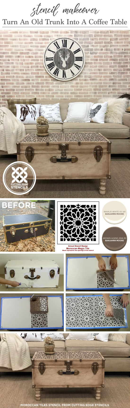 Cutting Edge Stencils Shares How To Makeover Over A Vintage Trunk Into Coffee Table Using