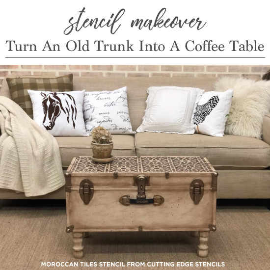 Stencil Makeover: Turn An Old Trunk Into A Coffee Table