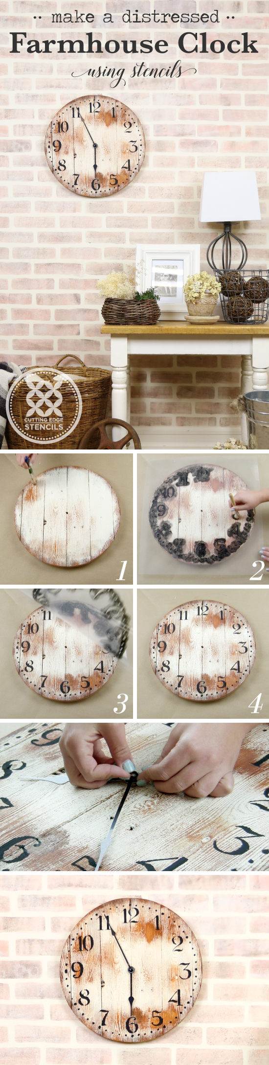 Cutting Edge Stencils shares a craft tutorial on how to make a distressed farmhouse clock using the Old Farm Clock Wall Stencil. http://www.cuttingedgestencils.com/old-farm-clock-stencil-farmhouse-clock-design.html