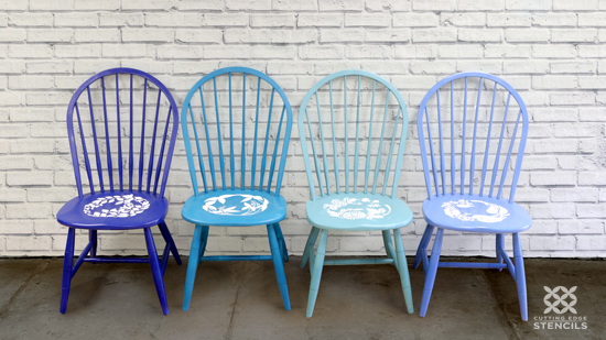 Learn How To Paint And Stencil Ombre Kitchen Chairs Using A Flower From Cutting Edge