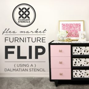 Cutting Edge Stencils shares how to makeover an old dresser using the Dalmatian Spot Allover Stencil. http://www.cuttingedgestencils.com/dalmatian-spots-stencil-dots-wallpaper-pattern.html