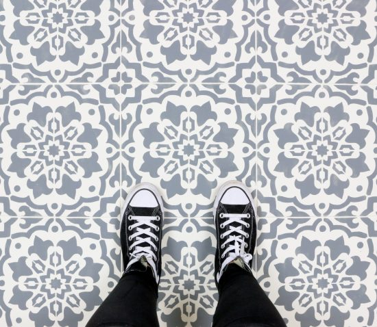 Cutting Edge Stencils shares an easy and affordable floor makeover using the Amalfi Tile Stencil. http://www.cuttingedgestencils.com/amalfi-tile-stencil-Cement-tiles-stenciled-floor-backsplash.html