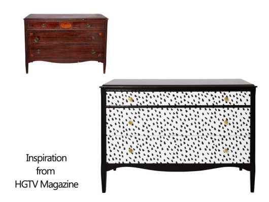 Furniture Inspiration from HGTV Magazine that is similar to the Dalmatian Spot Stencil from Cutting Edge Stencils. http://www.cuttingedgestencils.com/dalmatian-spots-stencil-dots-wallpaper-pattern.html