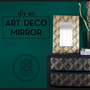 Cutting Edge Stencils shares how to put an Art Deco spin on an old mirror frame using the Lexington Craft Stencil. http://www.cuttingedgestencils.com/lexington-craft-stencil-furniture-stencils.html
