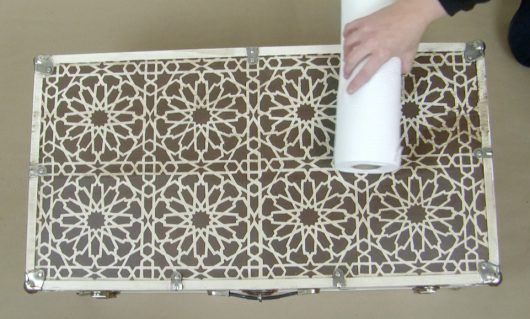 Learn how to makeover an old trunk into a coffee table using the Moroccan Magic Tile Stencil from Cutting Edge Stencils. http://www.cuttingedgestencils.com/moroccan-tile-stencil-cement-tiles-floor-tile-designs.html
