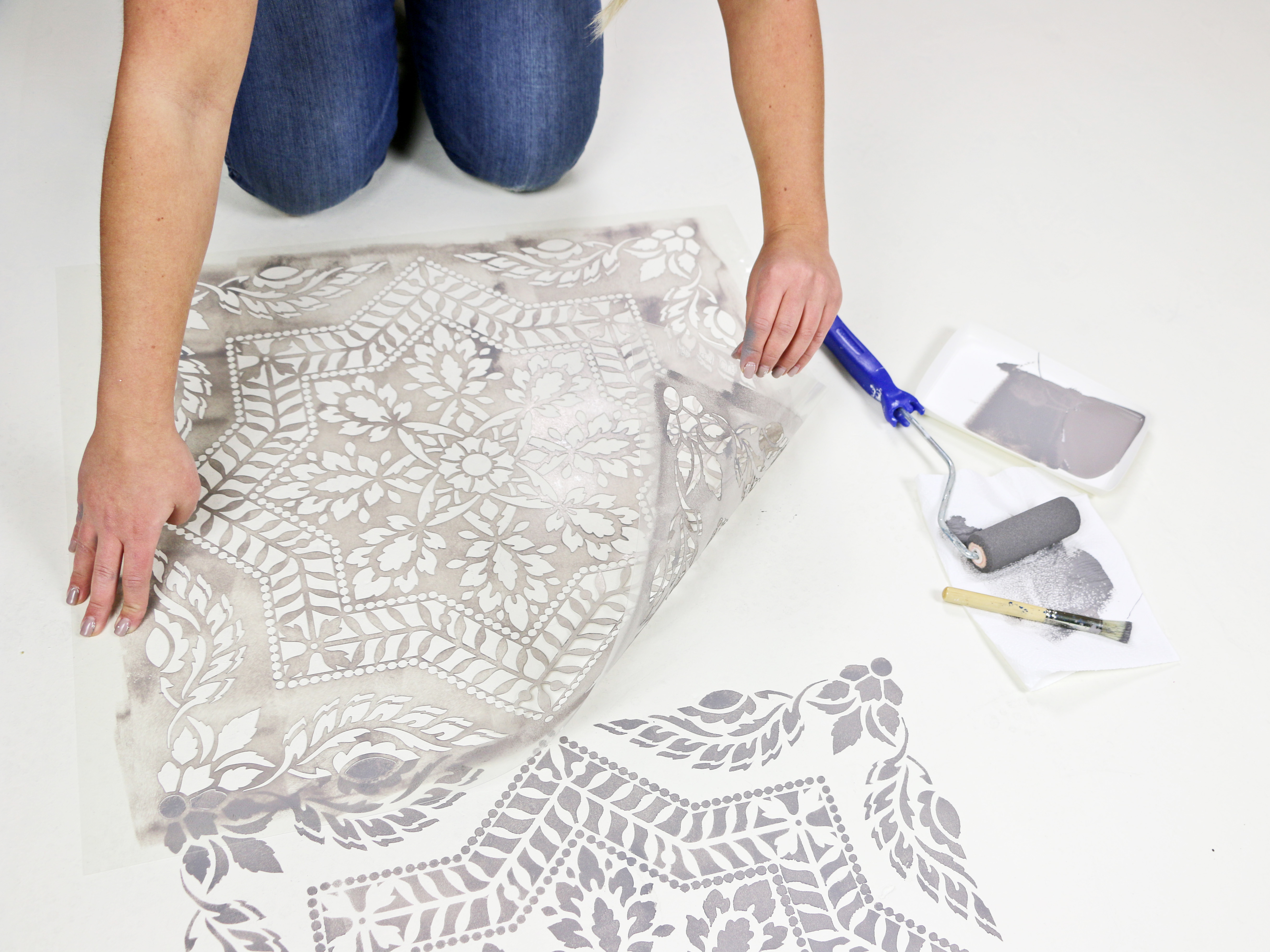 White and Gray Stenciled Floor