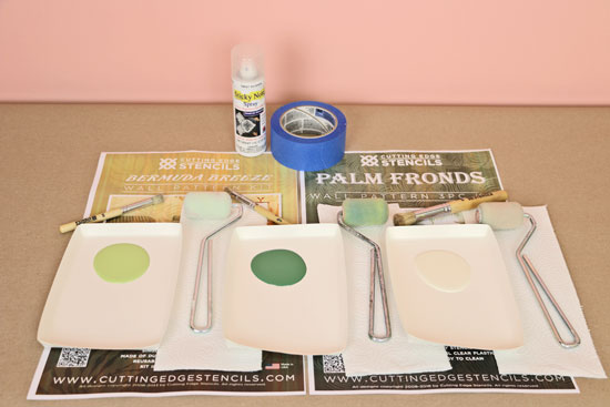 Paint and stencil supplies to stencil tropical wall