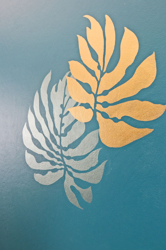 Metallic paints overlapping stencils