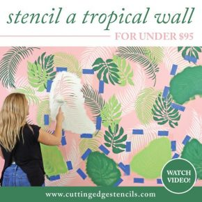 Stenciled Tropical wall Under $95