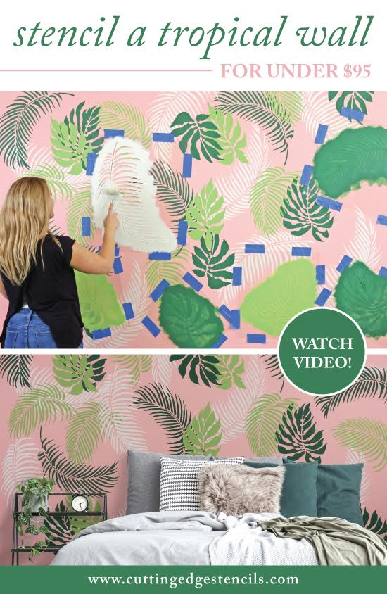 Stenciled wall art using tropical stencil designs