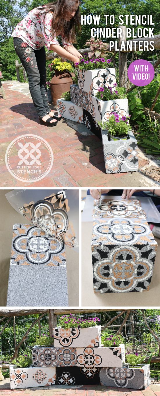 Cinder Block Tile Planters using Stencils