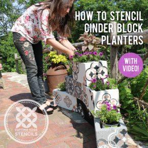 cinder block planters using stencils