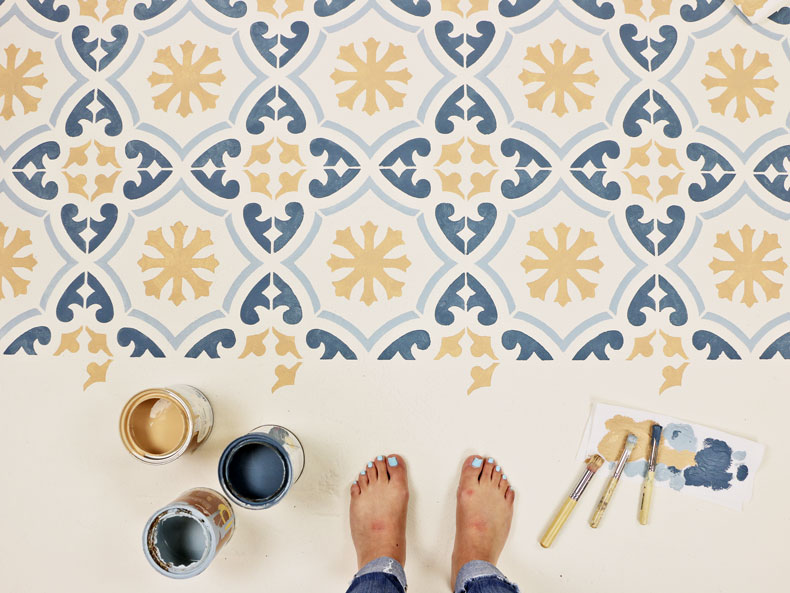 Tile-stencil-floor-design-tiles-pattern