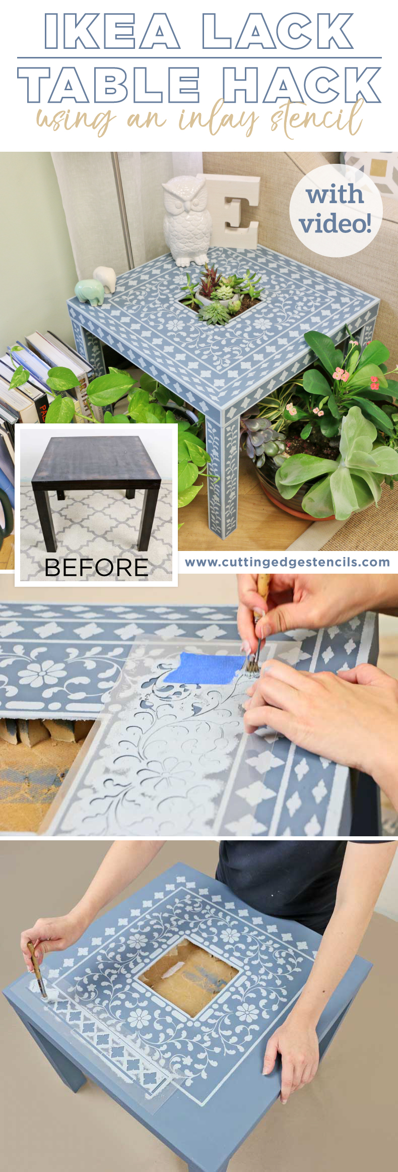 DIY stenciled ikea inlay table