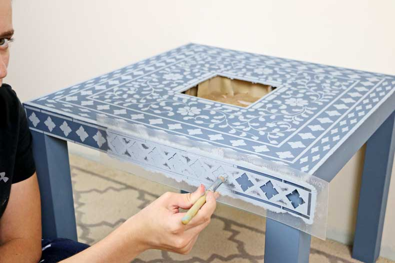 table border diamond around ikea inlay table