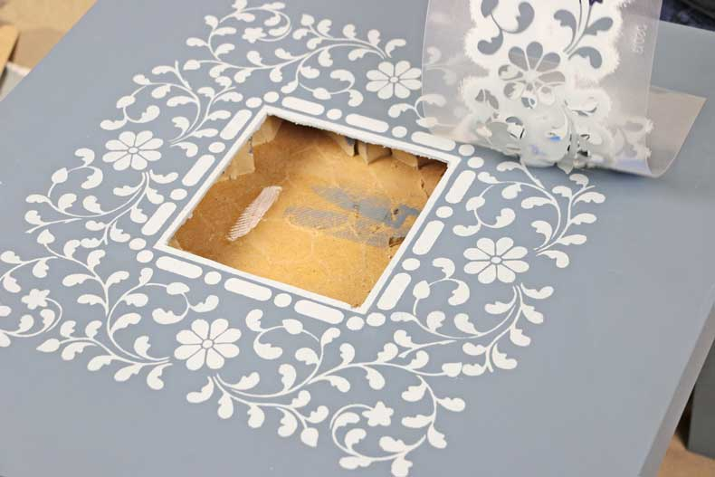 peel flower inlay stencil