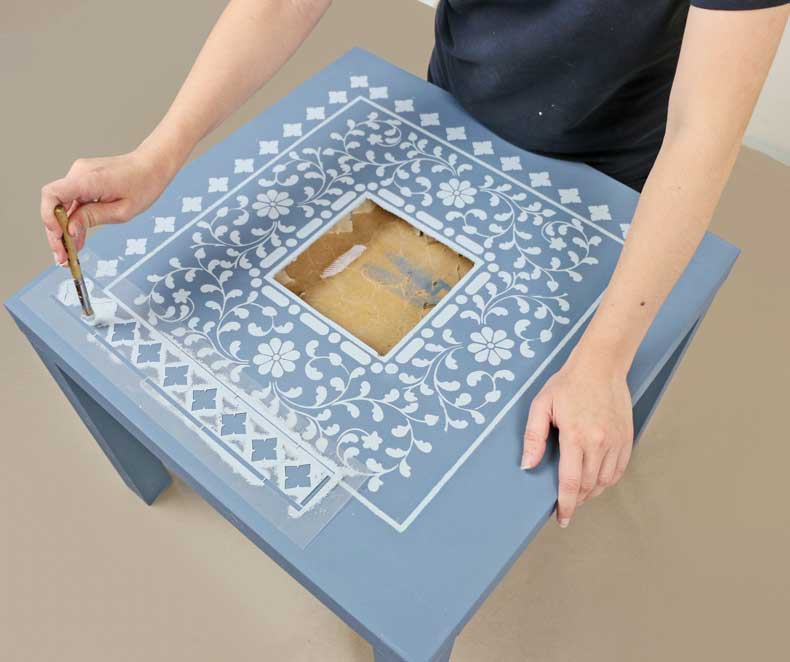 stencil large diamond inlay on ikea table