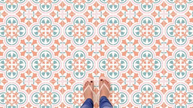 stenciled pastel tile floor finished