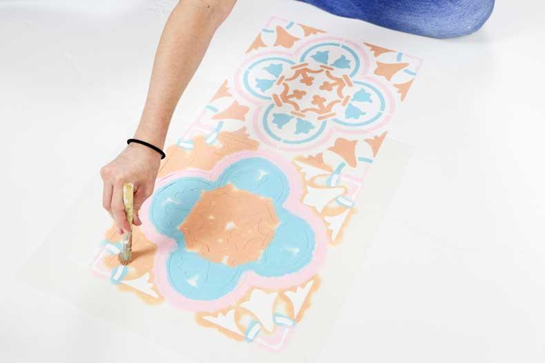 stencil pastel tile floor outermost section