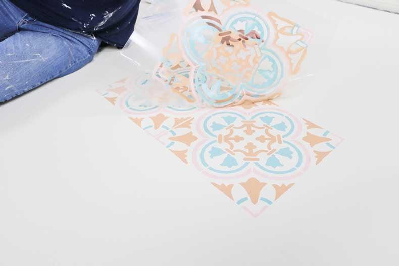pastel stenciled tile floor peel