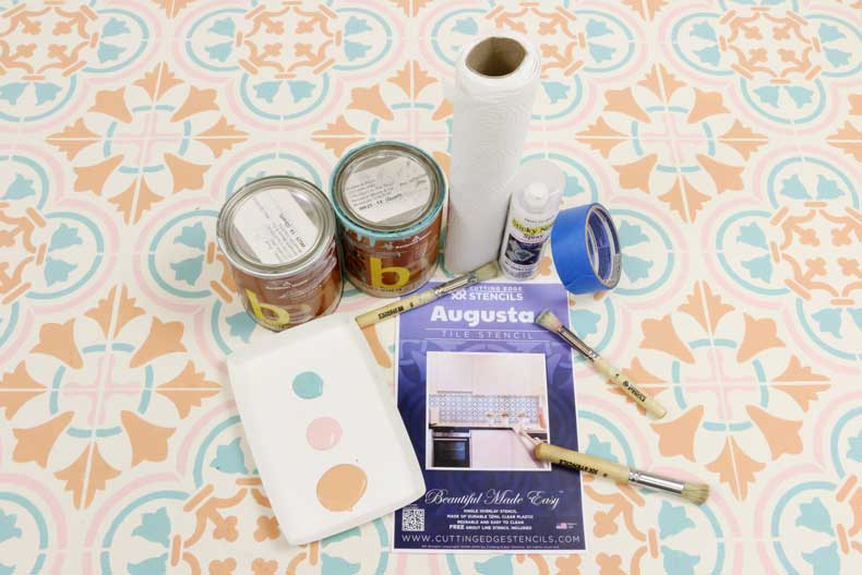 pastel stenciled tile floor supplies