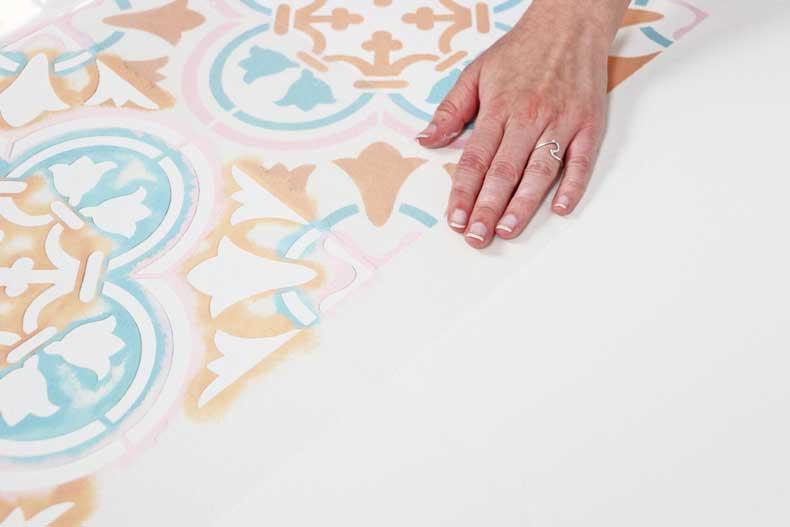 stenciled pastel tile floor alignment